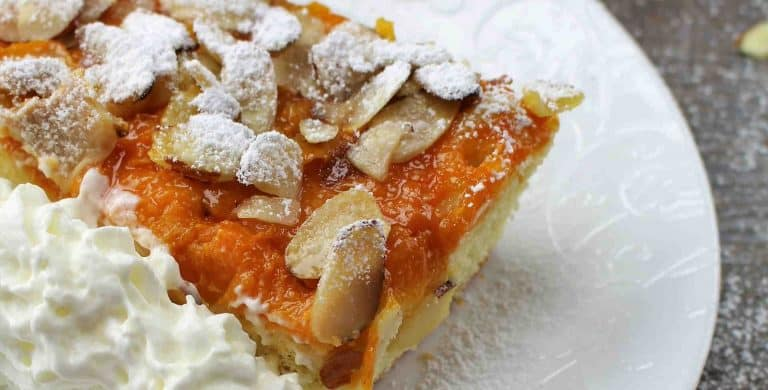 Apricot Cake with White Chocolate Almond Topping