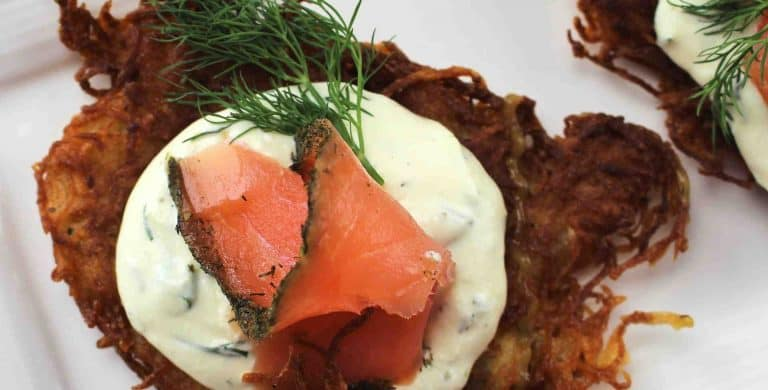German Potato Pancakes with Salmon