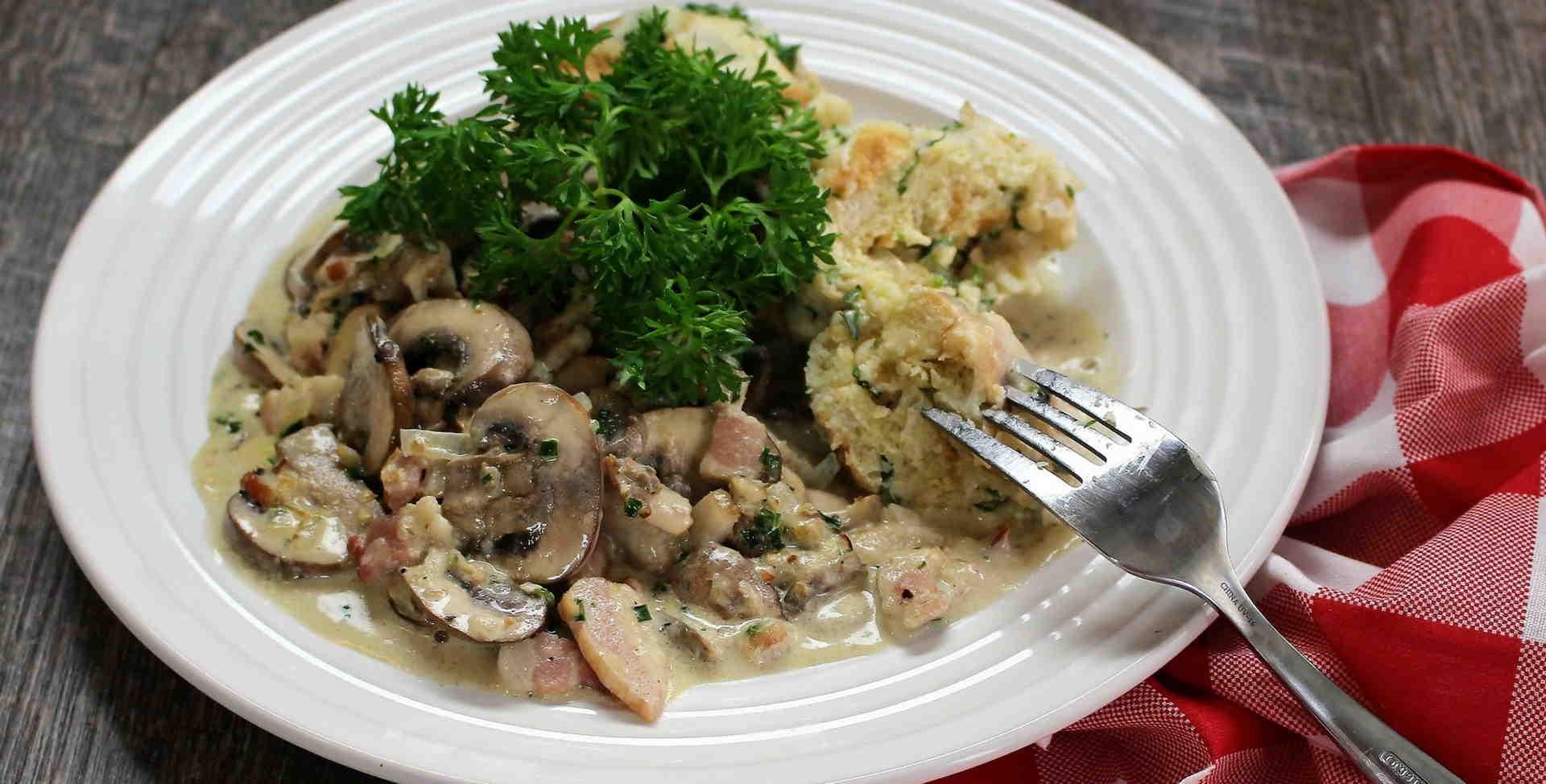 Creamy Mushrooms with Dumplings
