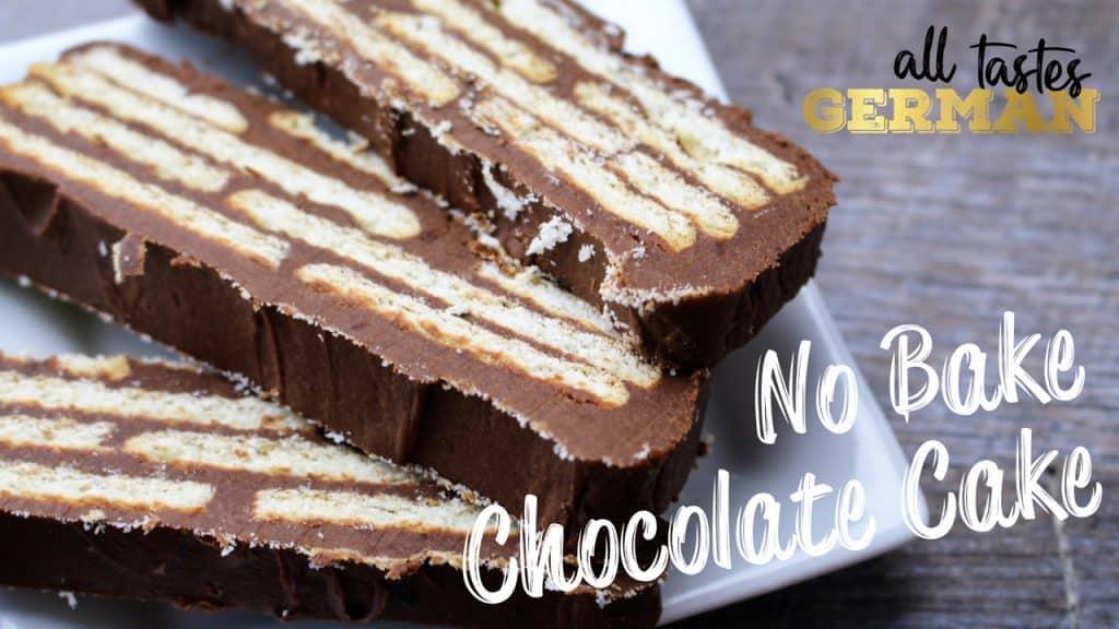 No Bake German Chocolate Biscuit Cake