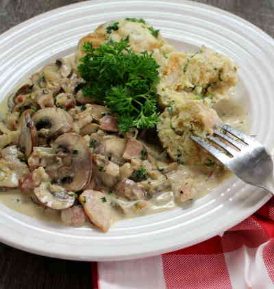 german bread dumplings with mushroom sauce