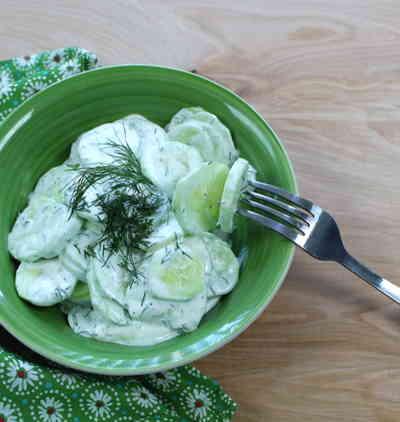 german cucumber salad sour cream