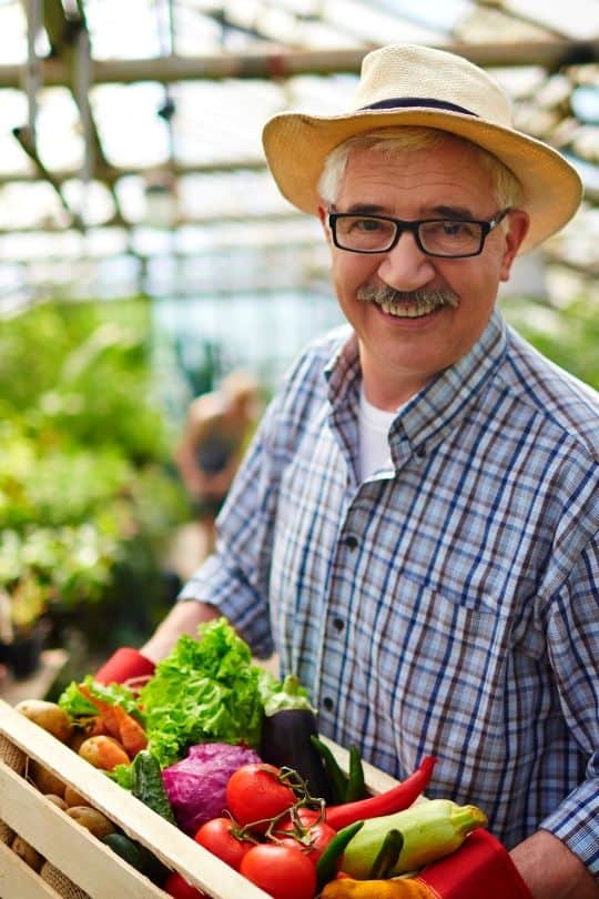 Man with Box of Salad