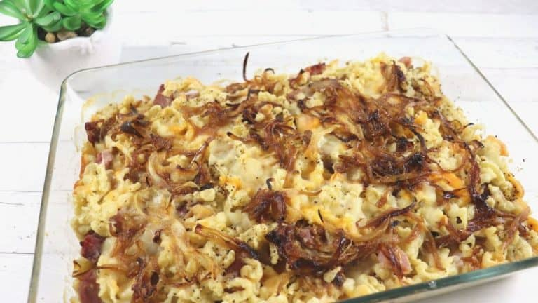 Cheese Spaetzle with Ham – Käsespätzle mit Schinken