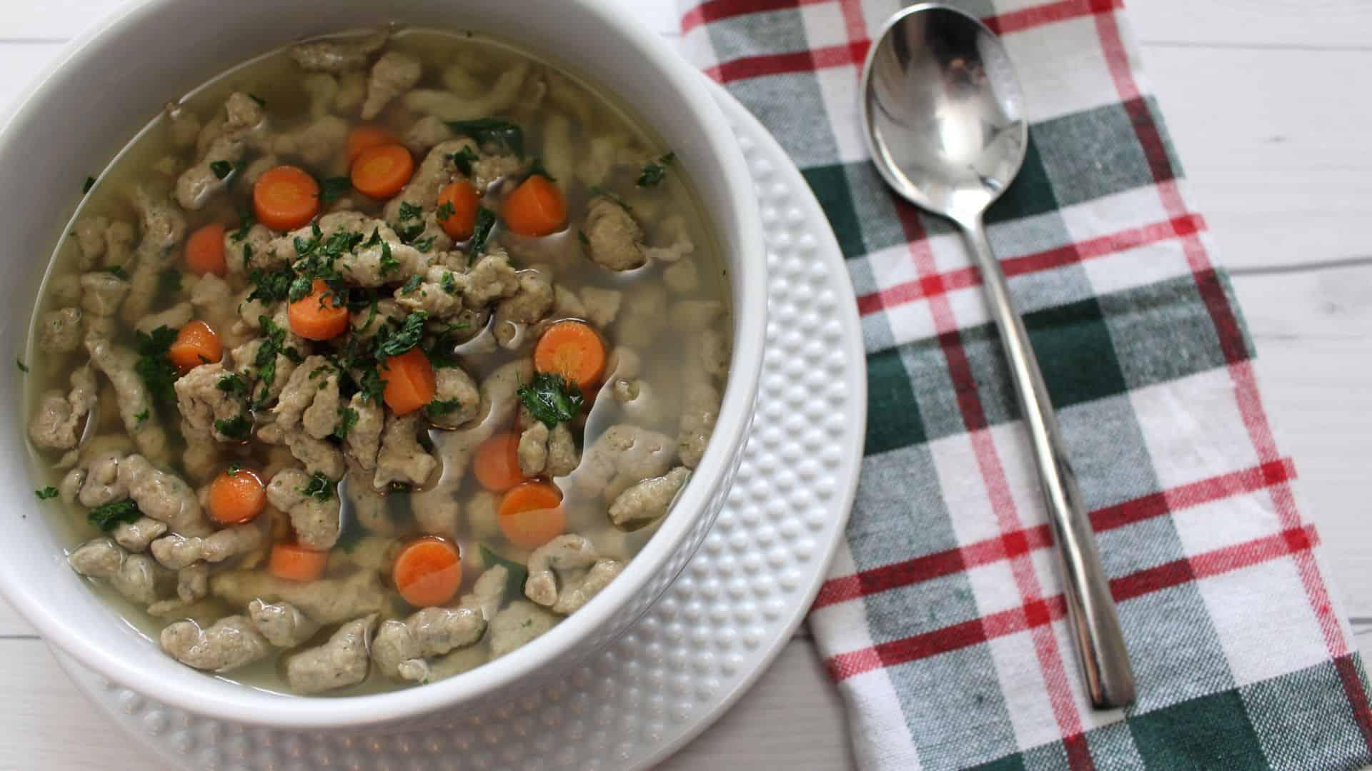 liver spaetzle soup bowl