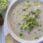 Cheesy Leek & Ground Beef Soup