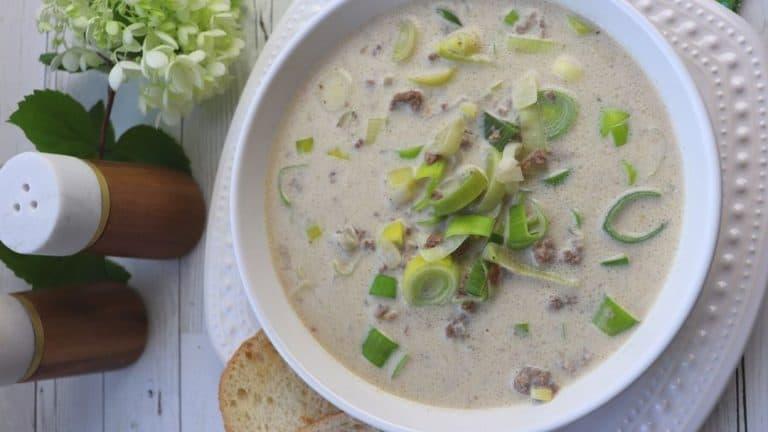 Cheesy Leek & Ground Beef Soup