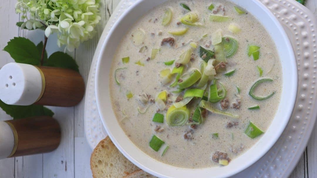 Leek Cheese Beef Soup Recipe