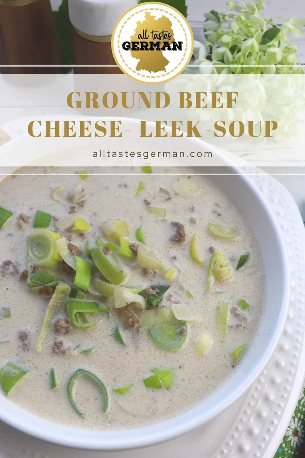 Ground Beef Leek Cheese Soup Pinterest Pin